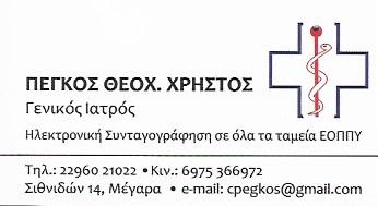 ΙΑΤΡΟΣ ΓΕΝΙΚΗΣ ΙΑΤΡΙΚΗΣ ΜΕΓΑΡΑ ΑΤΤΙΚΗ ΠΕΓΚΟΣ ΧΡΗΣΤΟΣ